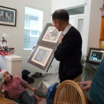 Philip examines the huge frames given to him by his Son-in-Law, Scott